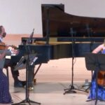 Summit Piano Trio: Helen Hwaya Kim, Robert Henry and Charae Krueger. (video frame capture / KSU)