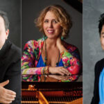:-R: Pianists Yefim Bronfman. Gabriela Montero, George Li (composite)