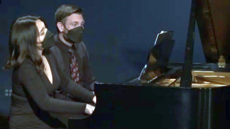 """Pianists Eric Jenkins and Erika Tazawa perform """"Sonata Serrana No. 1"""" by Gabriela Lena Frank."""
