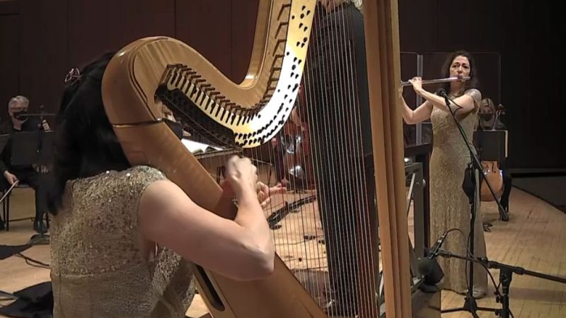"ASO principal harp, Elisabeth Remy Johnson, and principal flute Christina Smith solo in Mozart's ""Concerto for Flute, Harp, and Orchestra."" (video frame / ASO)"