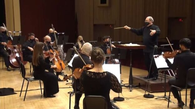 Robert Spano leads the Atlanta Symphony Orchestra in the Serenade No. 2 by Johannes Brahms. (video frame/ASO)