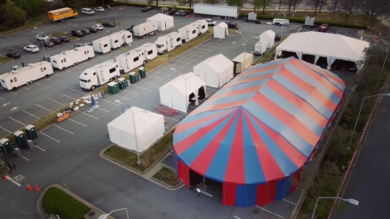 """The Big Tent and TAO's artistic """"village"""" that surrounds it, seen from above. (credit: Felipe Barral)"""