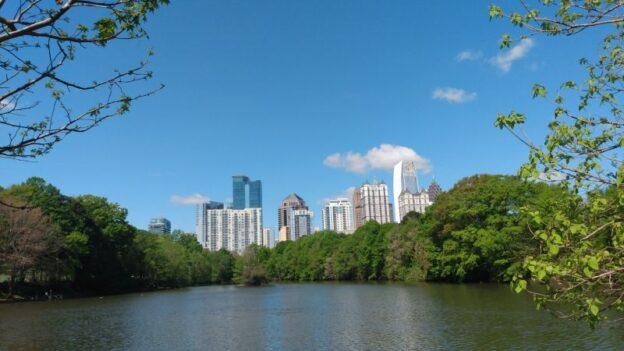 Midtown Atlanta skyline as seen from Piedmont Park, Lake Clara Meer. (credit: Mark Gresham)