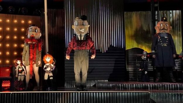 """Puppets and people with puppet heads populate The Atlanta Opera's new production of """"The Threepenny Opera"""" which opens Thursday. (credit: Ken Howard)"""