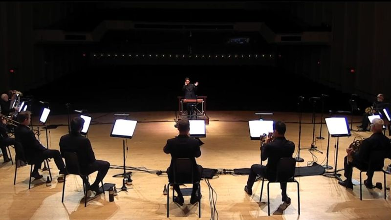 The full complement of ASO brass, without Plexiglas barriers, performs street Song by Michael Tilson Thomas. (video frame / ASO)