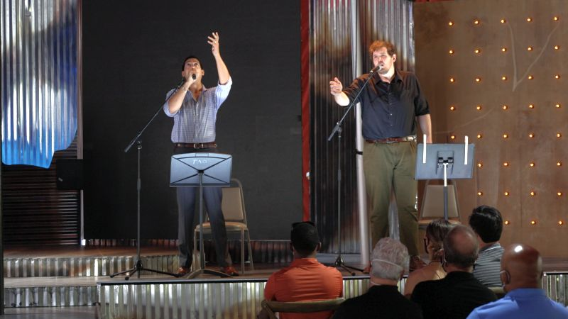 """Calvin Griffin and Richard Trey Smagur sing """"Agony"""" from Into The Woods. (credit: Felipe Barral / The Atlanta Opera)"""