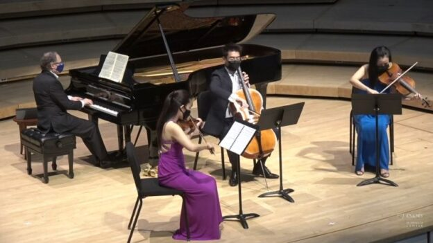 l-r: Pianist William Ransom with members of the Vega String Quartet: violinist Jessica Shuang Wu, cellist Guang Wang and violist Yinzi Kong. (video frame, ECMSA/SCPA)