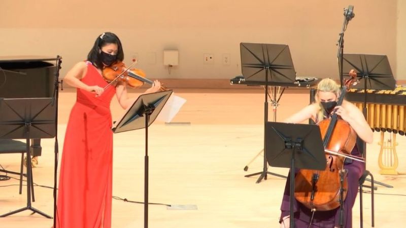 Violinist Helen Hwaya Kim and cellist Charae Krueger perform Duo for Violin and Cello, Op. 7 by Zoltán Kodály in a streamed concert on January 25, 2021. (KSU)
