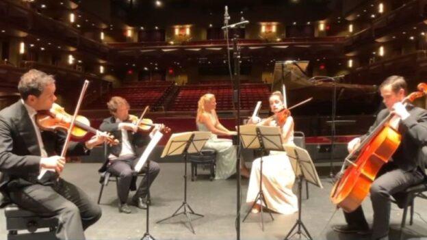 From left: violinists Keith Stanfield & Zsolt Eder, pianist Julie Coucheron,violist Ashley Stanfield and cellist Daniel Ketter. cello.