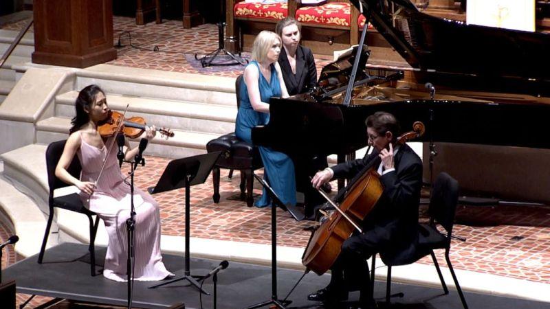 Julianne Lee, Elizabeth Pridgen and Christopher Rex perform Beethoven's Piano Trio, Op. 1 No. 1. (video frame, GCP)