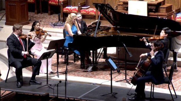 Clockwise from left: David Coucheron, Julianne Lee, Elizabeth Pridgen, Zhenwei Shi & Rainer Eudeikis perform Dvořák's Piano Quintet in A major. (video frame, GCP)