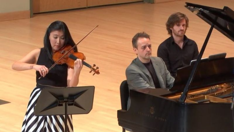 Just before masks: violinist Helen Hwaya Kim and pianist Robert Henry in a March 9, 2020 recital at Morgan Hall, from a video remixed for this year's virtual Zenith Chamber Music Festival. (KSU)