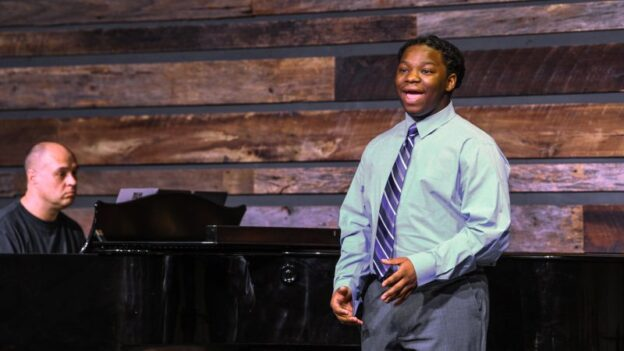 Baritone Sedreck Whitaker-Baker (AMP Class of 2021) performs a solo at the AMP Center for Performance & Education in February of 2020. Sedreck joined AMP in fifth grade and has been accepted at Clayton State University where he will major in computer science and minor in music. (credit: Atlanta Music Project)