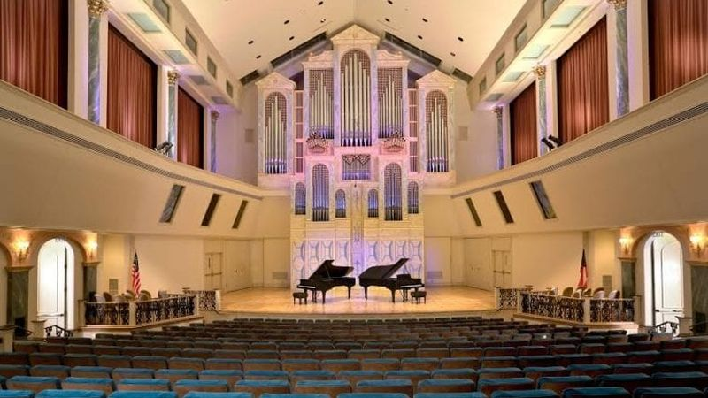 Spivey Hall, stage, Steinway pianos and Fratelli Ruffatti organ casework as seen from the back of the audience. (courtesy of Spivey Hall)