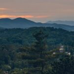 The mountains of western North Carolina overlooking the town of Highlands (lower right), home of the Highlands-Cashiers Chamber Music Festival.