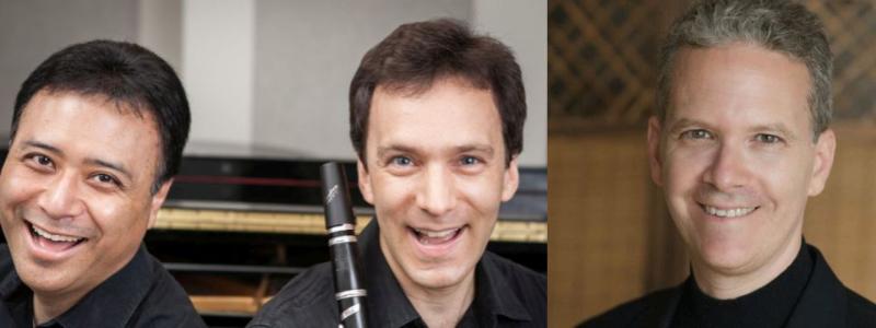 l-r: pianist Jon Nakamatsu and clarinetist Jon Manasse; pianist Brian Zeger. (images courtesy CCCMF)