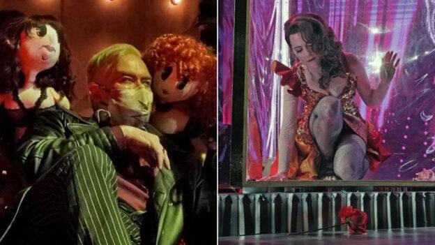 Jay Hunter Morris as Macheath in The Threepenny Opera and Megan Marino as Carmen in The Threepenny Carmen. (photos: Ken Howard / The Atlanta Opera)