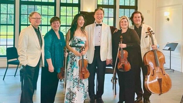 Sisters and brothers: William Ransom, Kate Ransom, Helen Hwaya Kim, Michael Kim, Alicia Bailey & Zuill Bailey at the Highlands-Cashiers Chamber Music Festival.