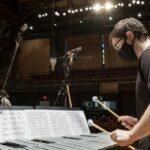 Recording session: Lucas Conant on vibraphone. (credit: Joseph V. Labolito)